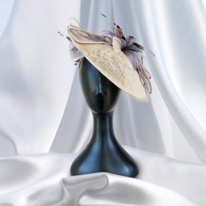 Large Brimmed Two-Tone Beige & Taupe Fascinator