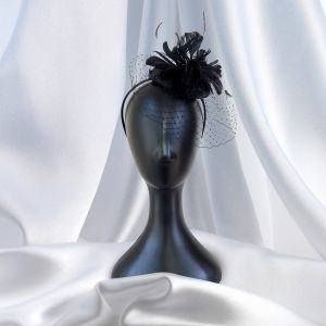Short Black Veil and Feather Fascinator on Headband