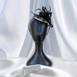 Cream & Black Jewel & Feather Head Piece