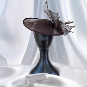 Large Chocolate Flower & Feather Head Piece on Head Band