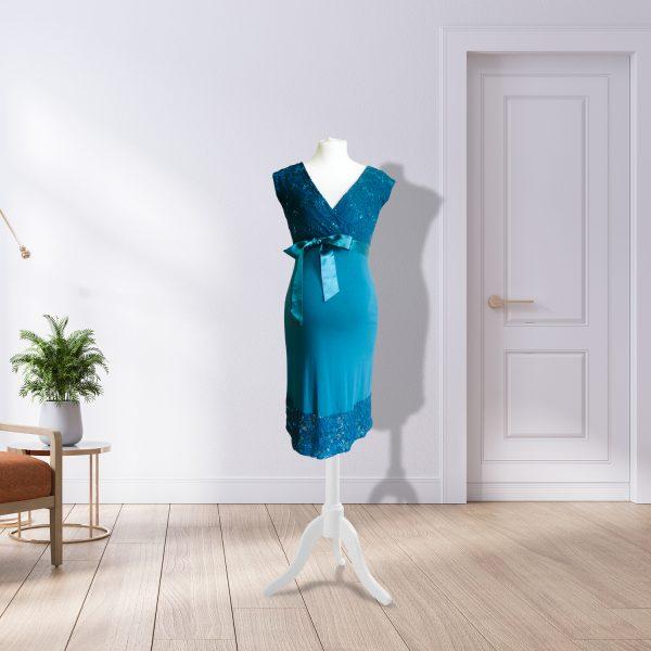 Teal Designer Knee Length Dress