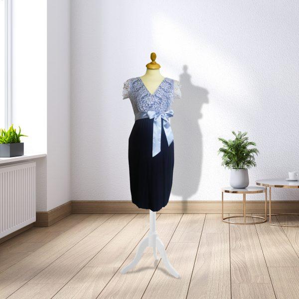 Designer Navy & Blue Lace Dress