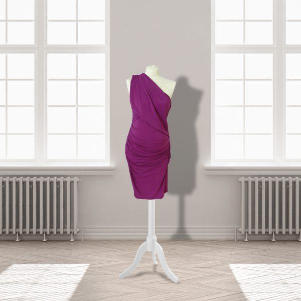 Bright Pink One Shoulder Knee Length Dress