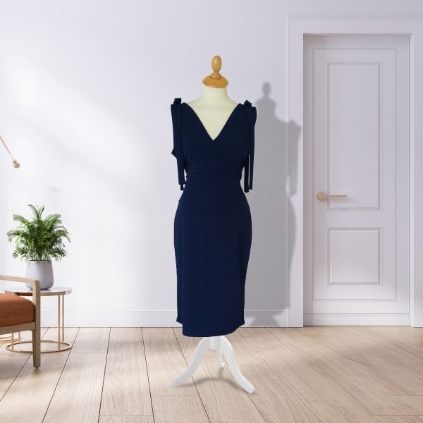 Navy Sift Dress With Detail Shoulder