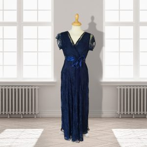 Full Length Designer Navy Lace Dress