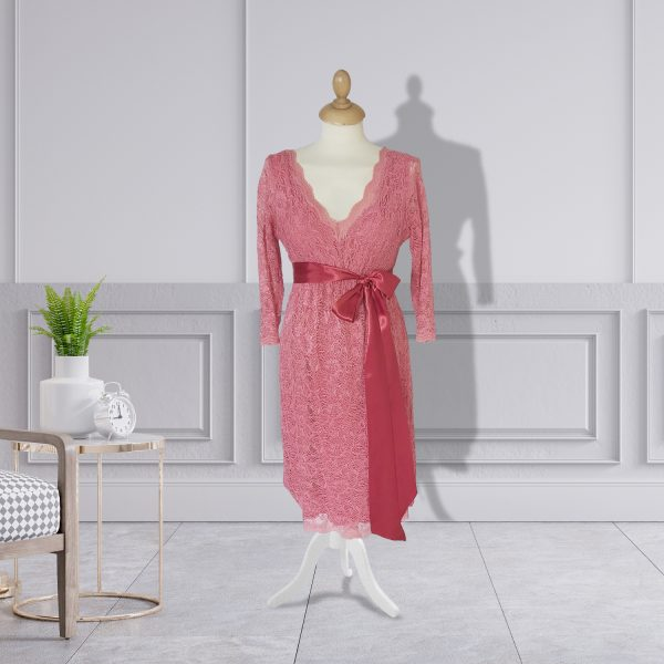Coral Knee Length Lace Designer Dress