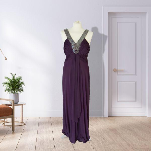 Purple Full Length Formal Dress & Jewel Neckline
