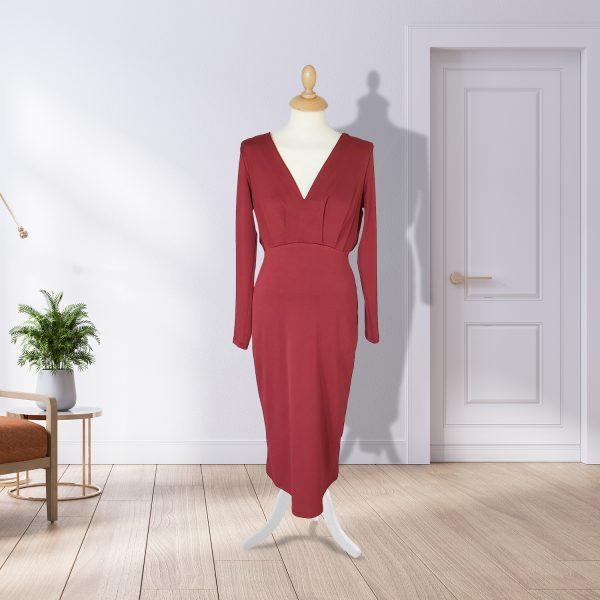 Long Sleeved Rust Midi Dress