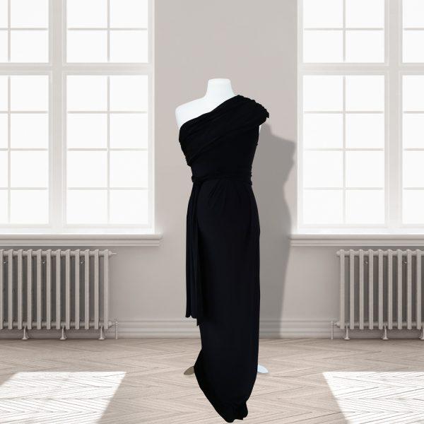 Black One Shoulder Full Length Dress