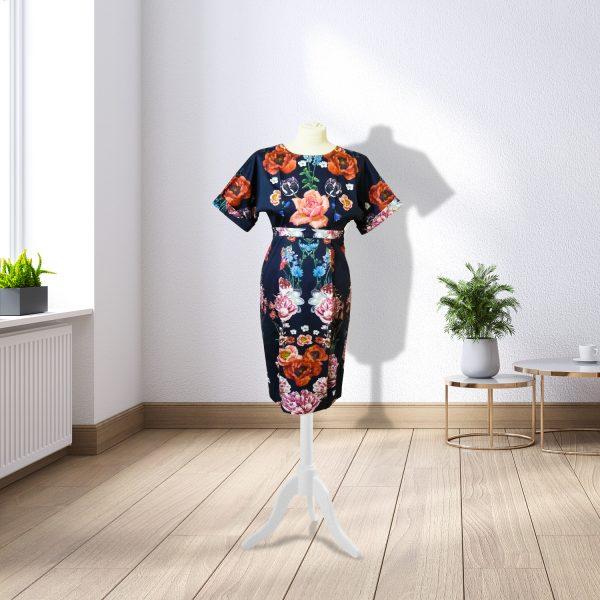 Designer Navy Floral Dress