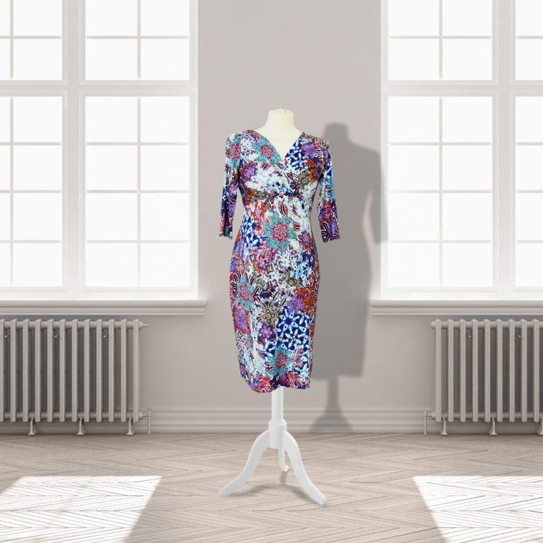 Designer Multi Coloured Knee Length Dress