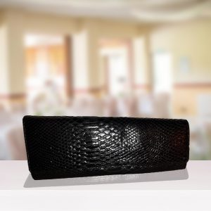 Black Snakeskin Abstract Clutch