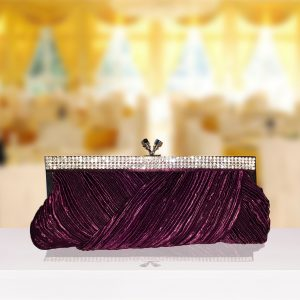 Purple Satin And Diamante Clutch