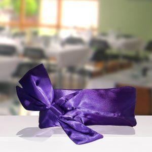 Purple Satin Bow Clutch