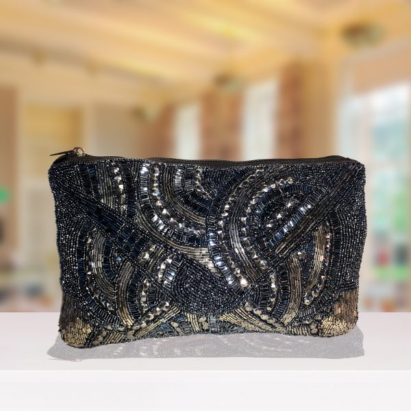 Black And Silver Beaded Envelope Clutch