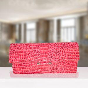 Pink Crocodile Print Clutch