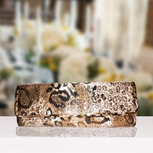 Cream And Tan Leopard-Print Sequenced Clutch