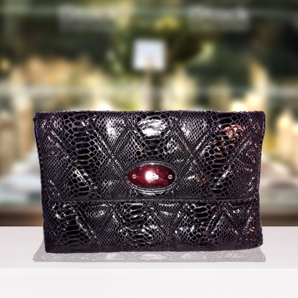 Black And Silver Snakeskin Clutch