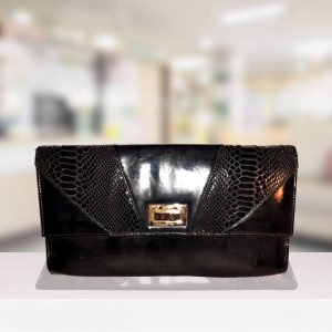 Black Patent Envelope Clutch