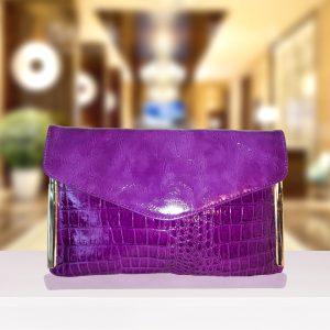 Purple Snakeskin Envelope Clutch