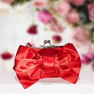 Coral Satin Bow Purse