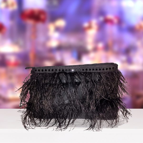Black Feather And Satin Clutch