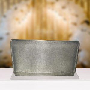 Plain Silver Satin Clutch