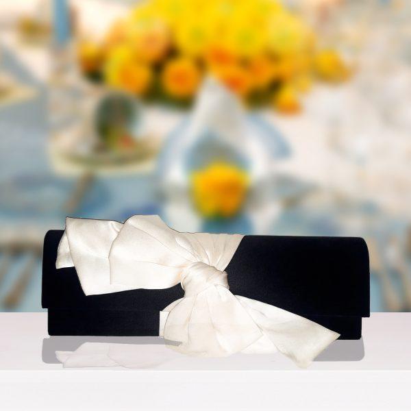 Black And Cream Satin Bow Clutch
