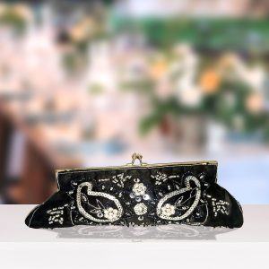 Black Satin Beaded Clutch
