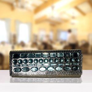 Grey Jewelled Clutch