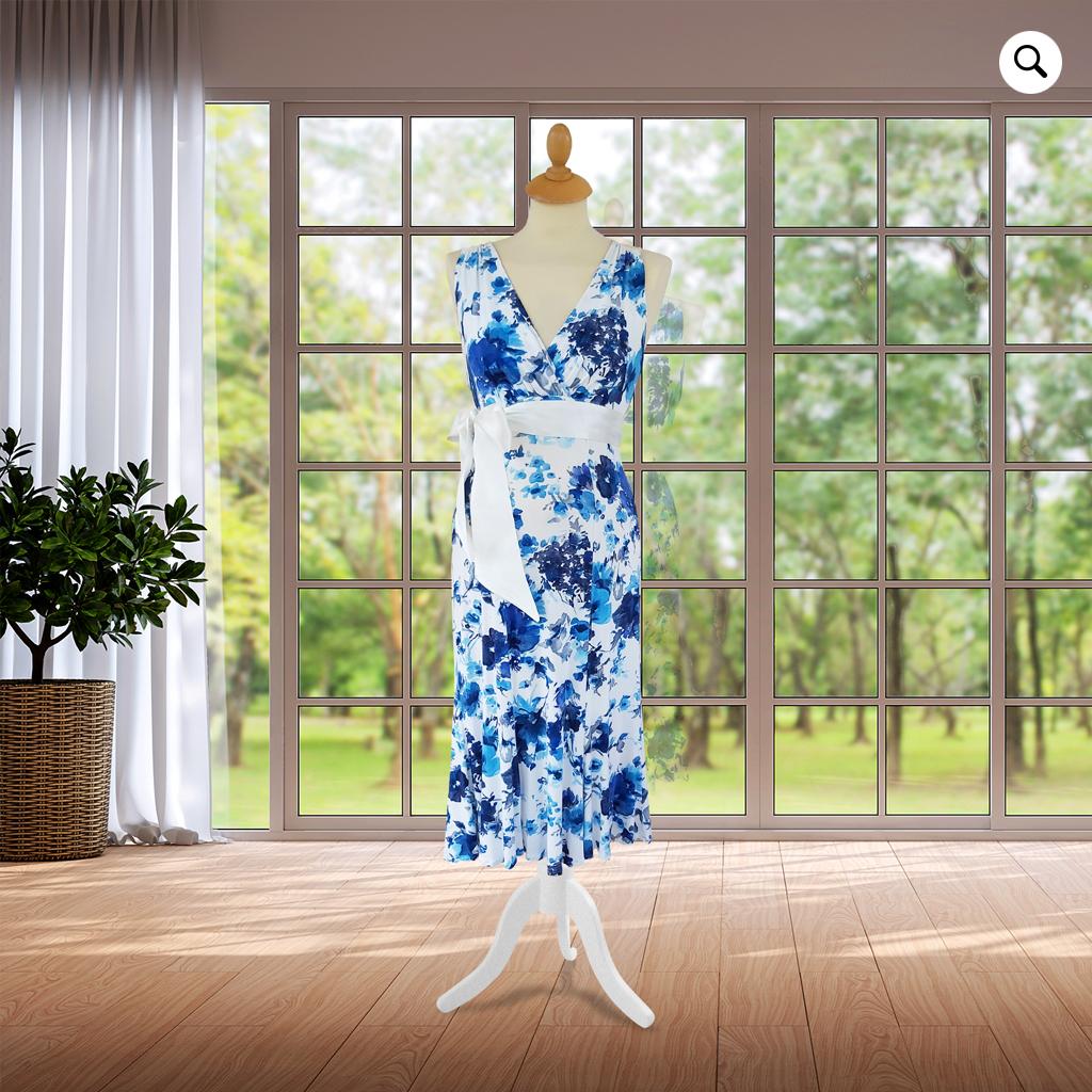Designer Cream & Blue Knee Length Dress
