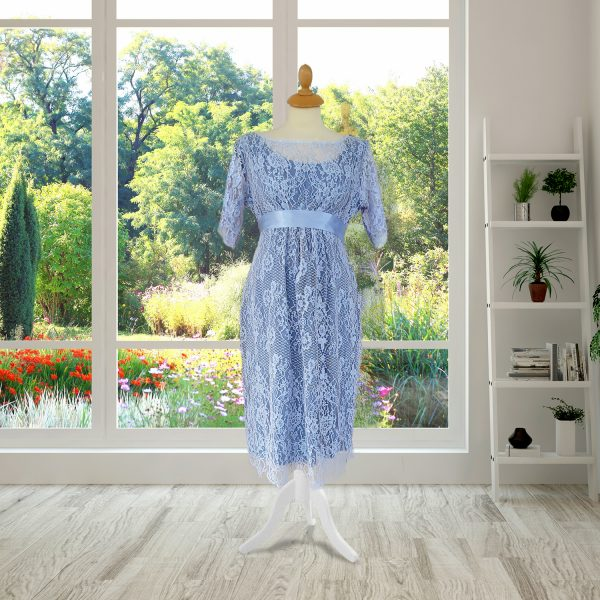 Powder Blue Designer Lace Dress
