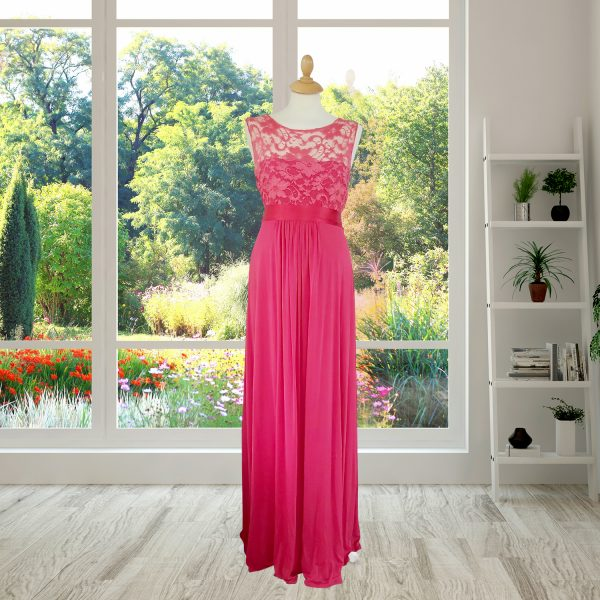 Raspberry Designer Full Length Dress