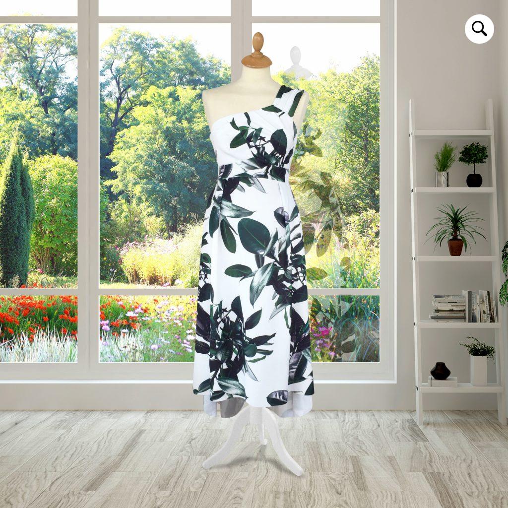 Cream One Shoulder Floral Midi Dress